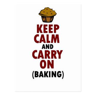 Keep Calm Carry On Baking Postcard