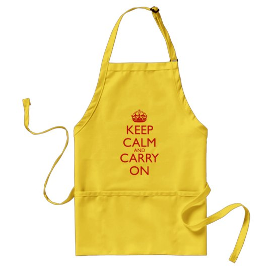 Keep Calm & Carry On Fire Engine Red Text Adult Apron