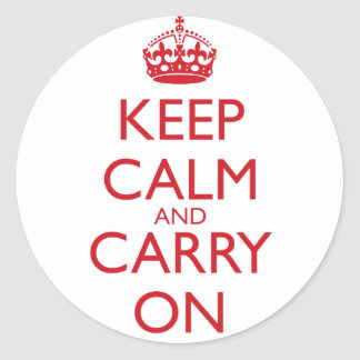 Keep Calm & Carry On Fire Engine Red Text Classic Round Sticker