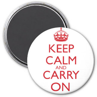 Keep Calm & Carry On Fire Engine Red Text Magnet