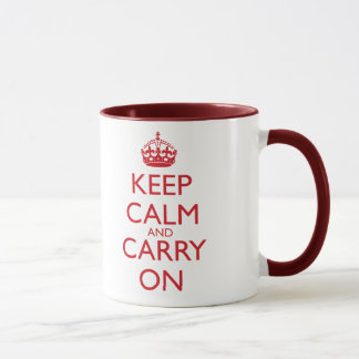 Keep Calm & Carry On Fire Engine Red Text Mug