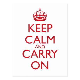Keep Calm & Carry On Fire Engine Red Text Postcard
