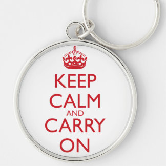 Keep Calm & Carry On Fire Engine Red Text Silver-Colored Round Keychain