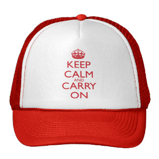 Keep Calm & Carry On Fire Engine Red Text Trucker Hat