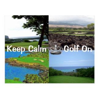 Keep Calm Carry On Golf Hawaii Postcard