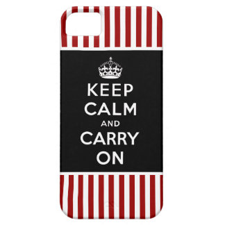 Keep Calm Carry On iPhone 5 Case Black Red Stripes