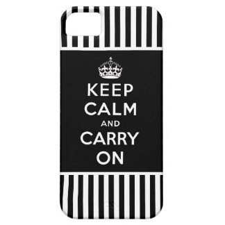 Keep Calm, Carry On iPhone 5 Case Black Stripes