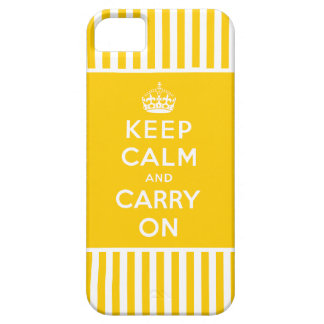 Keep Calm, Carry On iPhone 5 Case Yellow Stripes