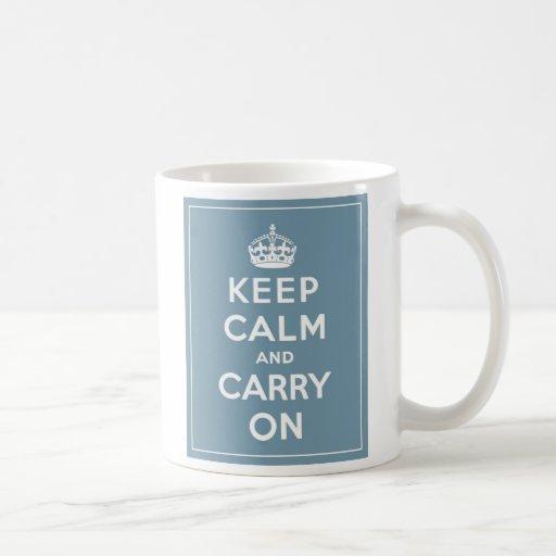 Keep Calm & Carry On Mug Duck Egg Blue