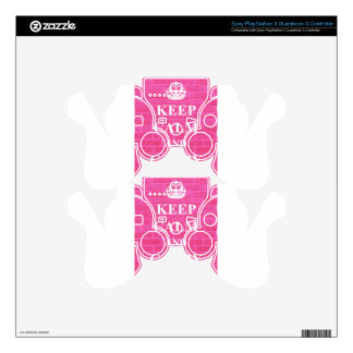 Keep Calm & Carry On Pink Decal For PS3 Controller