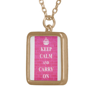 Keep Calm & Carry On Pink Square Pendant Necklace