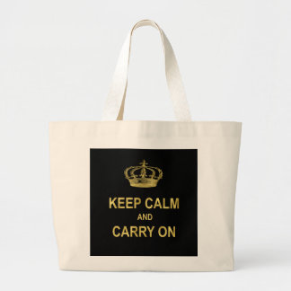 Keep Calm Carry On Quote Gold Faux Glitter Bling Jumbo Tote Bag