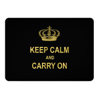 Keep Calm Carry On Quote Gold Faux Glitter Bling 5x7 Paper Invitation Card