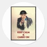 Keep Calm & Carry On Round Sticker