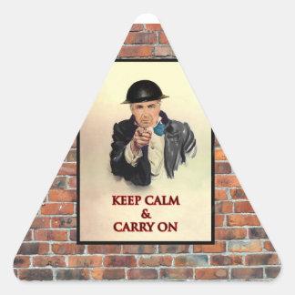 Keep Calm & Carry On Triangle Sticker