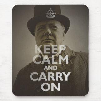 Keep Calm & Carry On Winston Churchill Mouse Pad