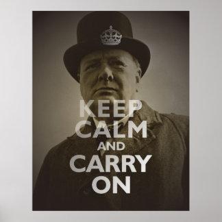 Keep Calm & Carry On Winston Churchill Poster