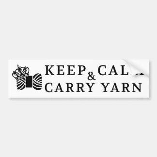 Keep Calm Carry Yarn / Crafts Bumper Sticker