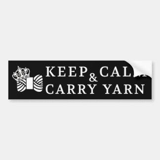Keep Calm Carry Yarn / Crafts {Dark} Bumper Sticker