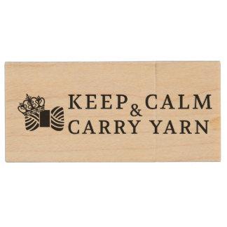 Keep Calm Carry Yarn Crafts • Knit Crochet Wood USB Flash Drive