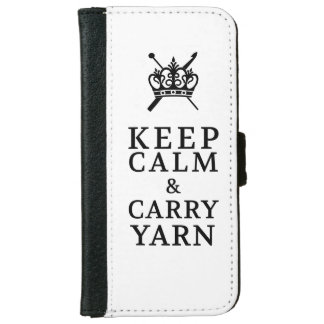 Keep Calm Carry Yarn {Light} Wallet Phone Case For iPhone 6/6s