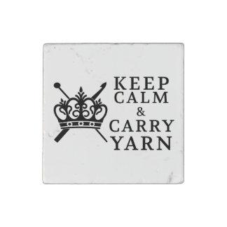 Keep Calm Carry Yarn Stone Magnet
