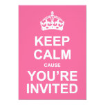 Keep Calm Cause You're Invited Sweet 16 5x7 Paper Invitation Card