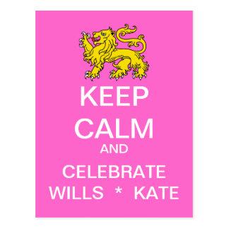 KEEP CALM Celebrate Wills Kate Postcard (Pink)