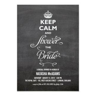 Keep Calm Chalkboard Stylish Funny Bridal Shower Card