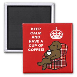 Keep Calm Chocolate Labrador 2 Inch Square Magnet