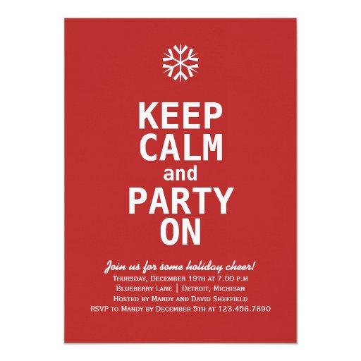 Keep Calm Christmas 5x7 Paper Invitation Card