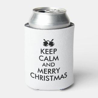 Keep Calm Christmas Can Cooler Jingle Bells Custom