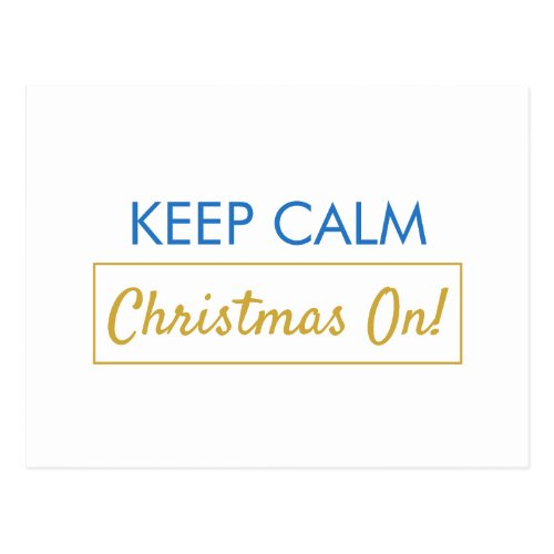 Keep Calm Christmas On Blue Lined Holiday Postcard