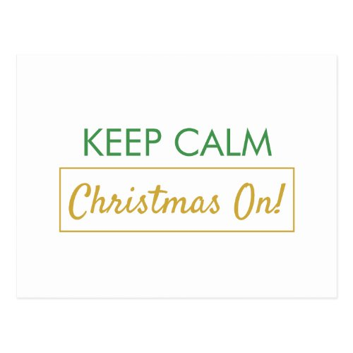 Keep Calm Christmas On Green Lined Holiday Postcard