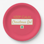Keep Calm Christmas On Red Paper Plate