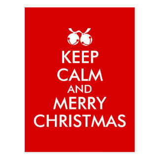 Keep Calm Christmas Postcard Jingle Bells Custom