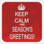 Keep Calm Christmas Seasons greetings red stickers