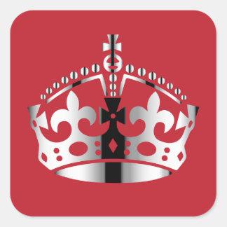 Keep Calm Chrome Crown - Change background Square Sticker