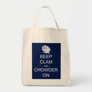 Keep Calm Clam Chowder Grocery Tote Tote Bag