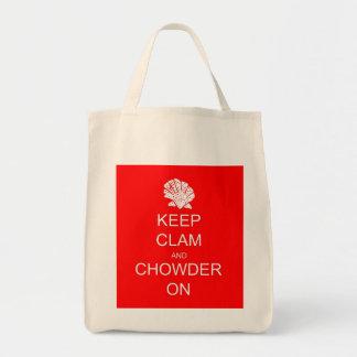 Keep Calm Clam Chowder Grocery Tote Canvas Bag