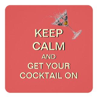 Keep Calm Cocktail Party Custom Invitation (Peach)