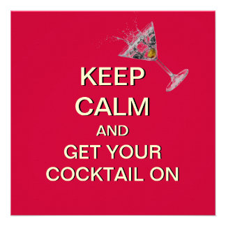 Keep Calm Cocktail Party Custom Invitation (Red)