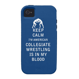 Keep Calm Collegiate Wrestling Is In Blood Case-Mate iPhone 4 Case