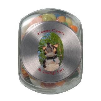 Keep Calm & Corgi On Glass Candy Jars