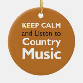 Keep Calm Country Ceramic Ornament