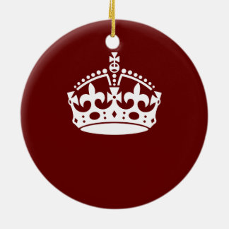 Keep Calm Crown Burgundy Red Accent Double-Sided Ceramic Round Christmas Ornament