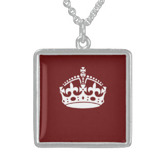 Keep Calm Crown Burgundy Red Accent Square Pendant Necklace