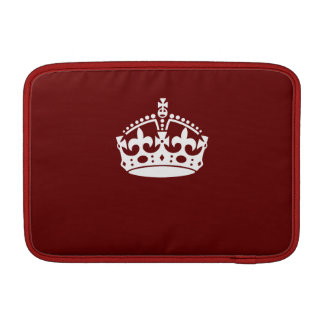 Keep Calm Crown Icon on Burgundy Red MacBook Air Sleeve