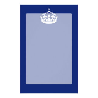 Keep Calm Crown Icon on Navy Blue Stationery