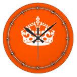KEEP CALM CROWN Icon on Orange Customize This Large Clock